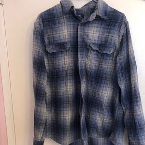 🌺 George Blue and White Flannel